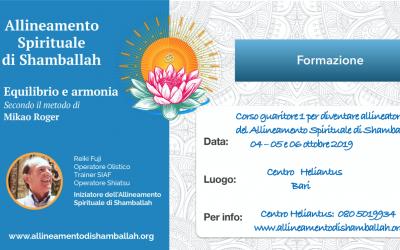 Corso Guaritore 1 per diventare Allineatore Spirituale di Shamballah – 4,5,6 Ottobre – Bari
