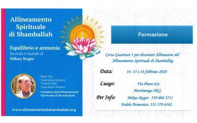 Formazione corso Guaritori 1 di Shamballah 14 -15 e 16 febbraio 2020